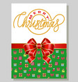 merry christmas greeting card with bow knot vector image
