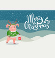 merry christmas postcard with pig in green sweater vector image vector image