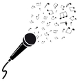 Microphone black silhouette with notes a isolated vector