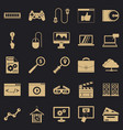 mobile tech icons set simple style vector image vector image