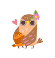 mother owl embracing her owlet happy family of vector image