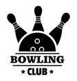 new bowling club logo simple style vector image vector image