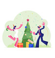 new year or christmas celebration at work with vector image