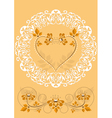 Openwork frame with orange flowers and hearts vector image vector image