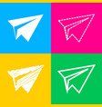 paper airplane sign four styles of icon on four vector image vector image
