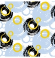 Pattern with painted circles and bubbles vector image vector image