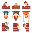 people hiding behind brick wall and peeping set vector image vector image