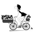 pretty young woman rides a bike vector image vector image