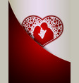 red white design with silhouettes of two lovers vector image vector image
