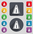 Road icon sign A set of 12 colored buttons and a vector image vector image