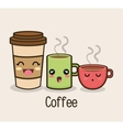set cartoon cup coffee design vector image