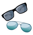 set of cartoon glasses a collection of sunglasses vector image