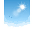 sky background with sun and white bottom vector image vector image