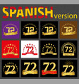 spanish set of number seventy-two 72 years vector image vector image