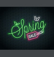 spring sale neon lettering neon banner spring vector image