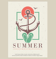 summer retro grunge poster design template vector image