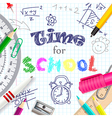 Time for school creative background vector image