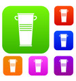 trash can with handles set color collection vector image vector image
