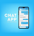 ui ux phone chat blue interface text message vector image