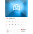 wall calendar planner for 2018 year june print vector image vector image