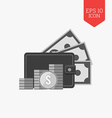 Wallet and stack of coins icon money concept Flat vector image vector image