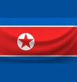waving national flag of north korea vector image vector image