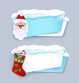 winter banners with santa clause christmas boot vector image