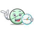 with clock drug tablet character cartoon vector image