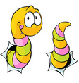 worm bite through - cute cartoon vector image vector image