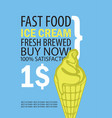 banner with ice cream on blue background vector image