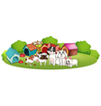 A group of dogs outside their houses vector image vector image