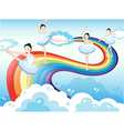 Ballet dancers in the sky with a rainbow vector image vector image