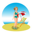 beautiful woman on tropical beach vector image vector image