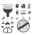 big data icons set user and customer unsatisfied vector image