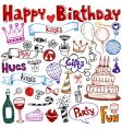 birthday doodles vector image vector image