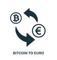 bitcoin to euro icon mobile app printing web vector image vector image