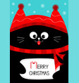 black cat holding merry christmas text with candy vector image vector image