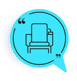 black line cinema chair icon isolated on white vector image vector image