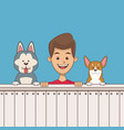 boy with pets cartoon vector image