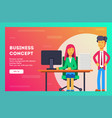 business concept businessman gives a lot of work vector image vector image