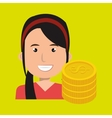 business person with coins isolated icon design vector image