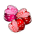 cakes in form of hearts with confiture vector image vector image