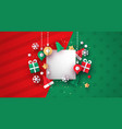 christmas card template 3d paper decoration vector image vector image