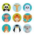 Cute animals in colored round badges vector image vector image