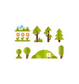 cute green plants and trees set elements the vector image vector image