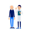 doctor and patient doctor reads patients medical vector image vector image
