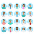 doctors and nurses characters avatars set medical vector image