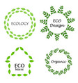 eco leaf wreath logo set design template vector image vector image
