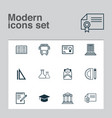 education icons set with literature backpack vector image