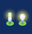 energy-saving and led lamps isometric vector image